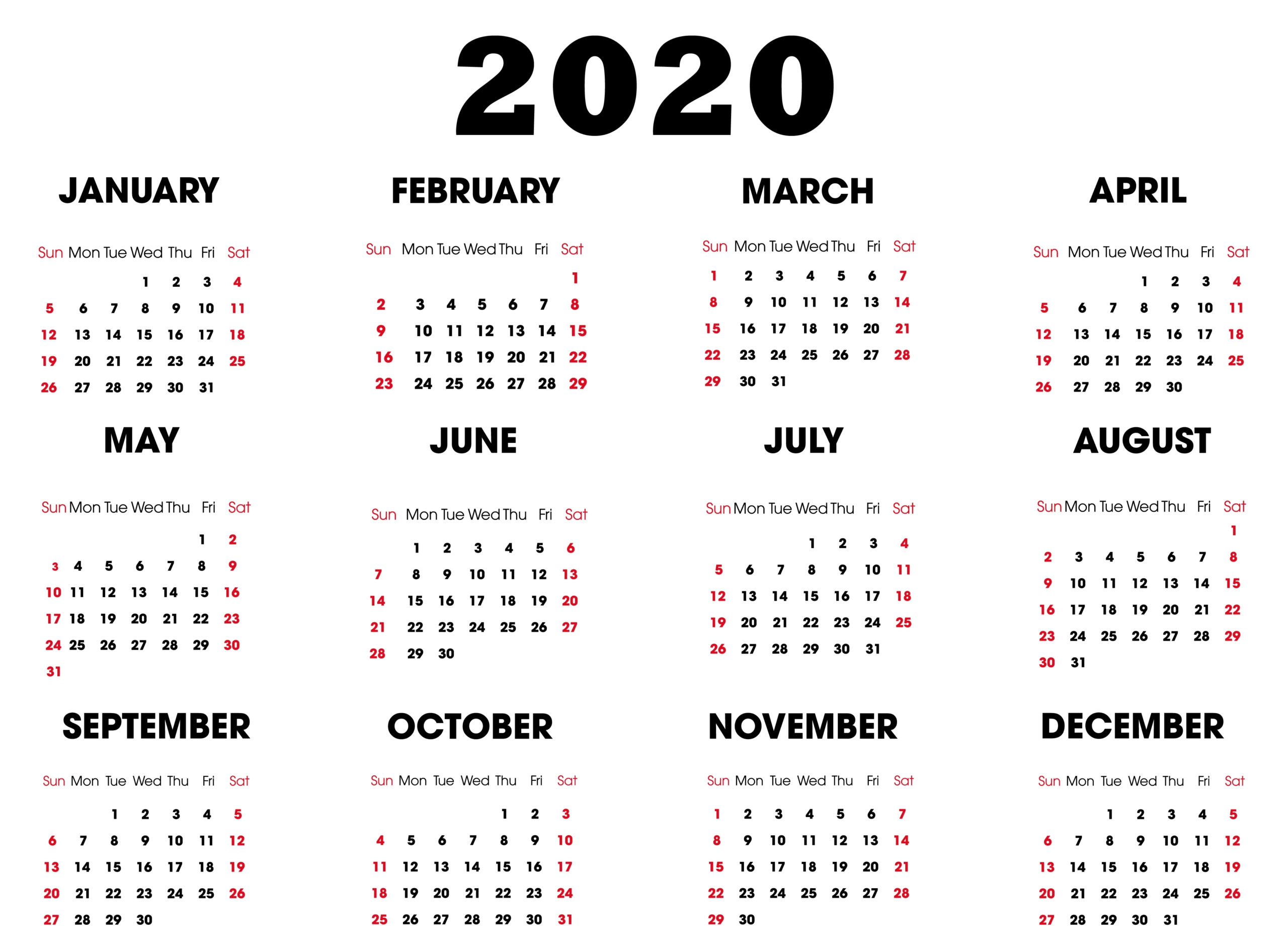 Yearly 2020 Printable Calendar | Free Printable Calendar