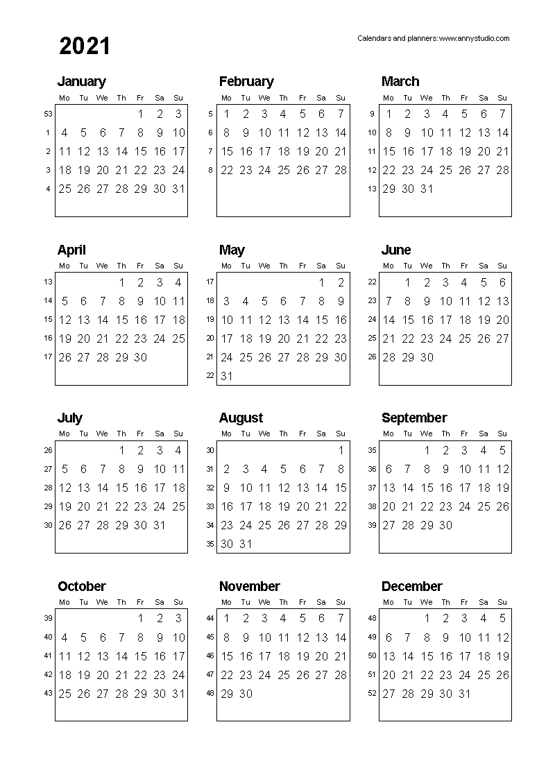 12 Month 2021 Printable Calendar Type On - Template