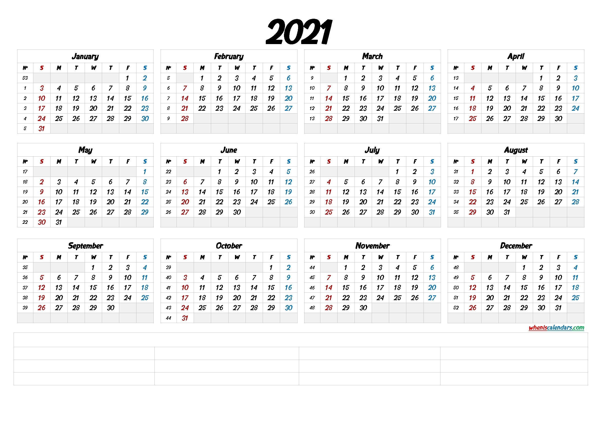 2021 Calendar With Week Numbers Printable (6 Templates