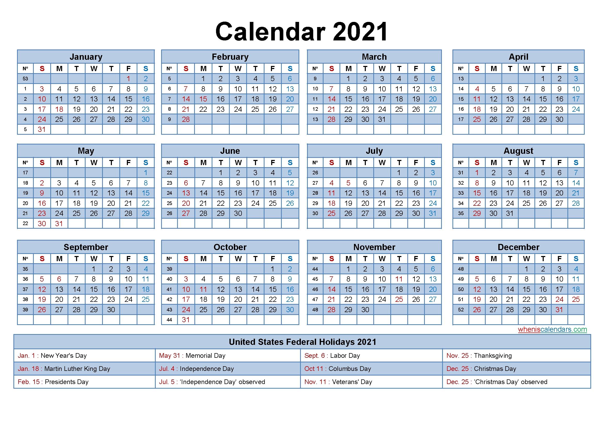 Free Editable Printable Calendar 2021 - Template No