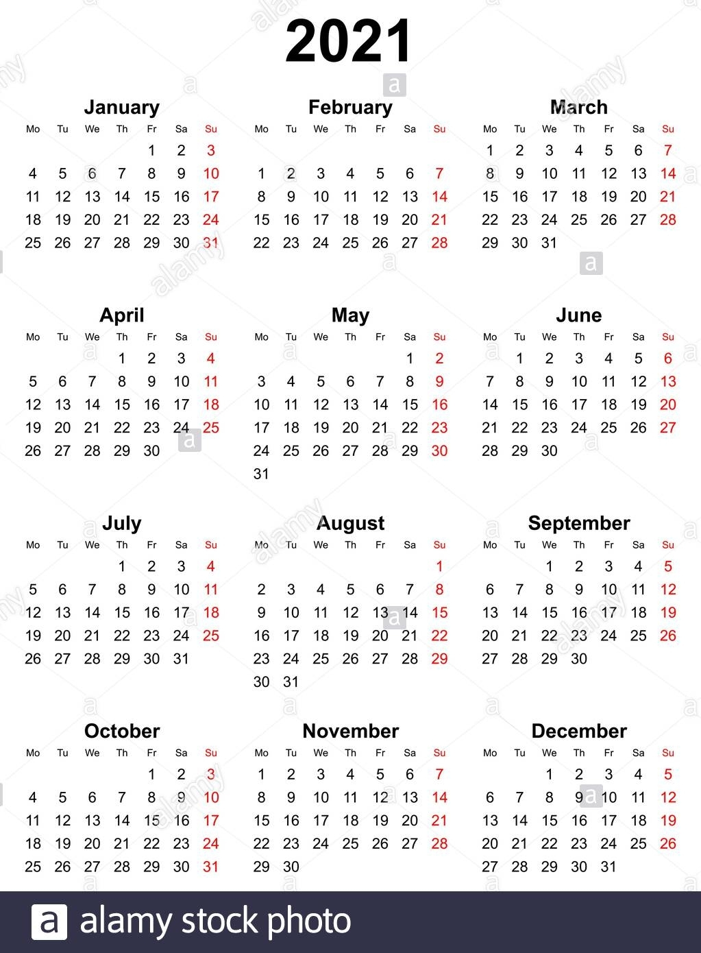 Simple Editable Vector Calendar For Year 2021 Sundays In