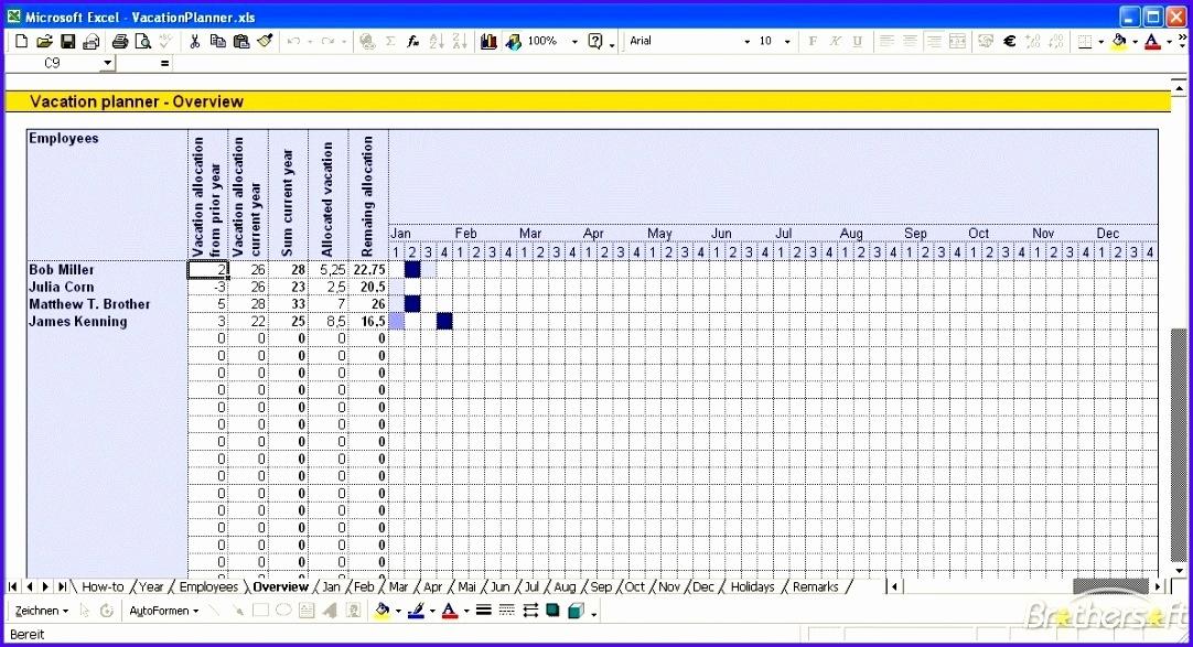 12 Vacation Calendar Template Excel - Excel Templates