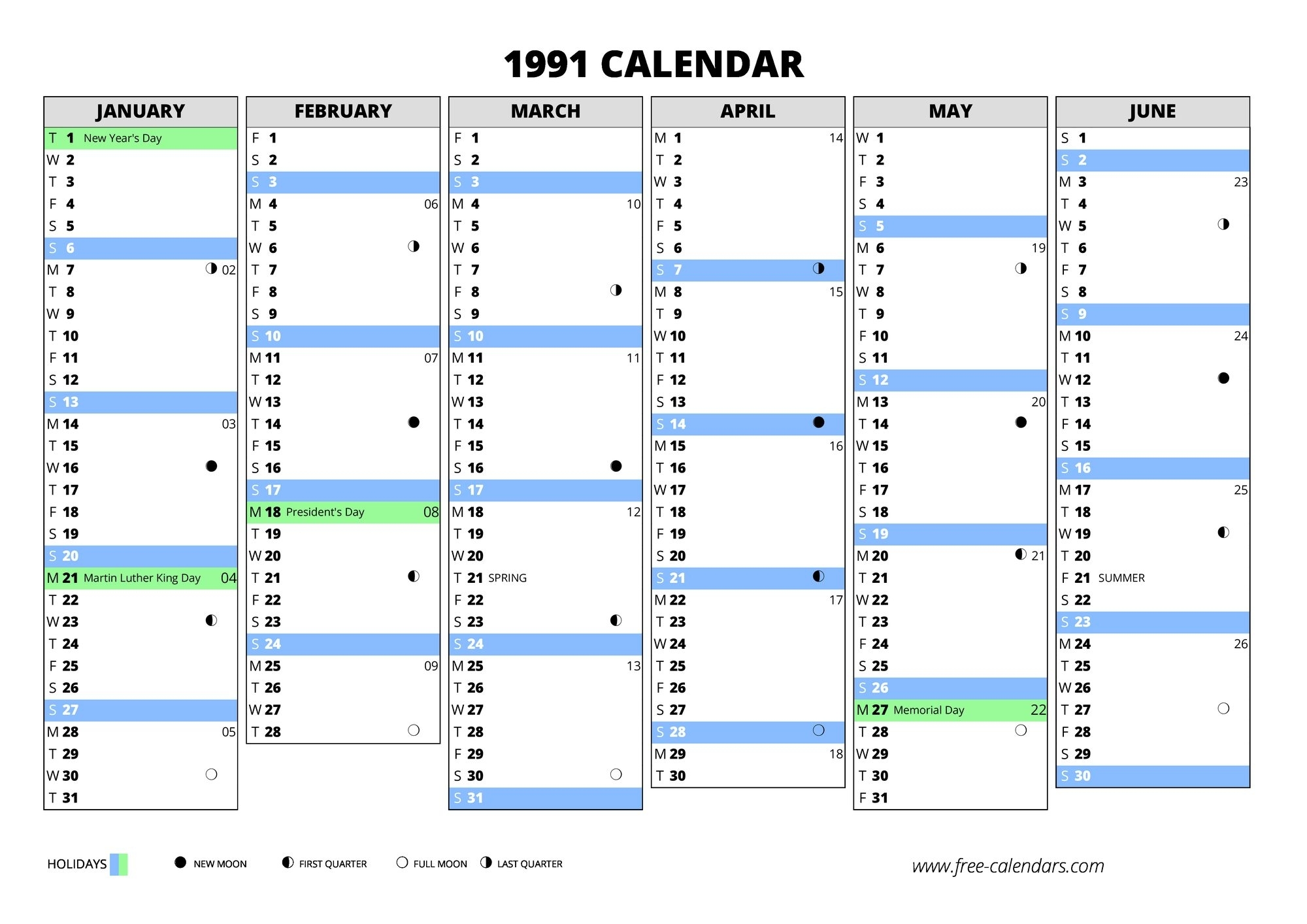 1991 Calendar ≡ Free-Calendars