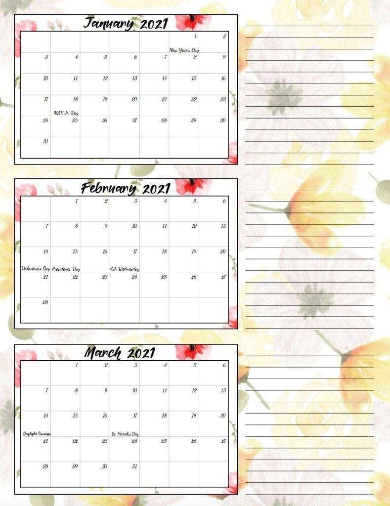 1St Quarter Calendar 2021 | Month Calendar Printable
