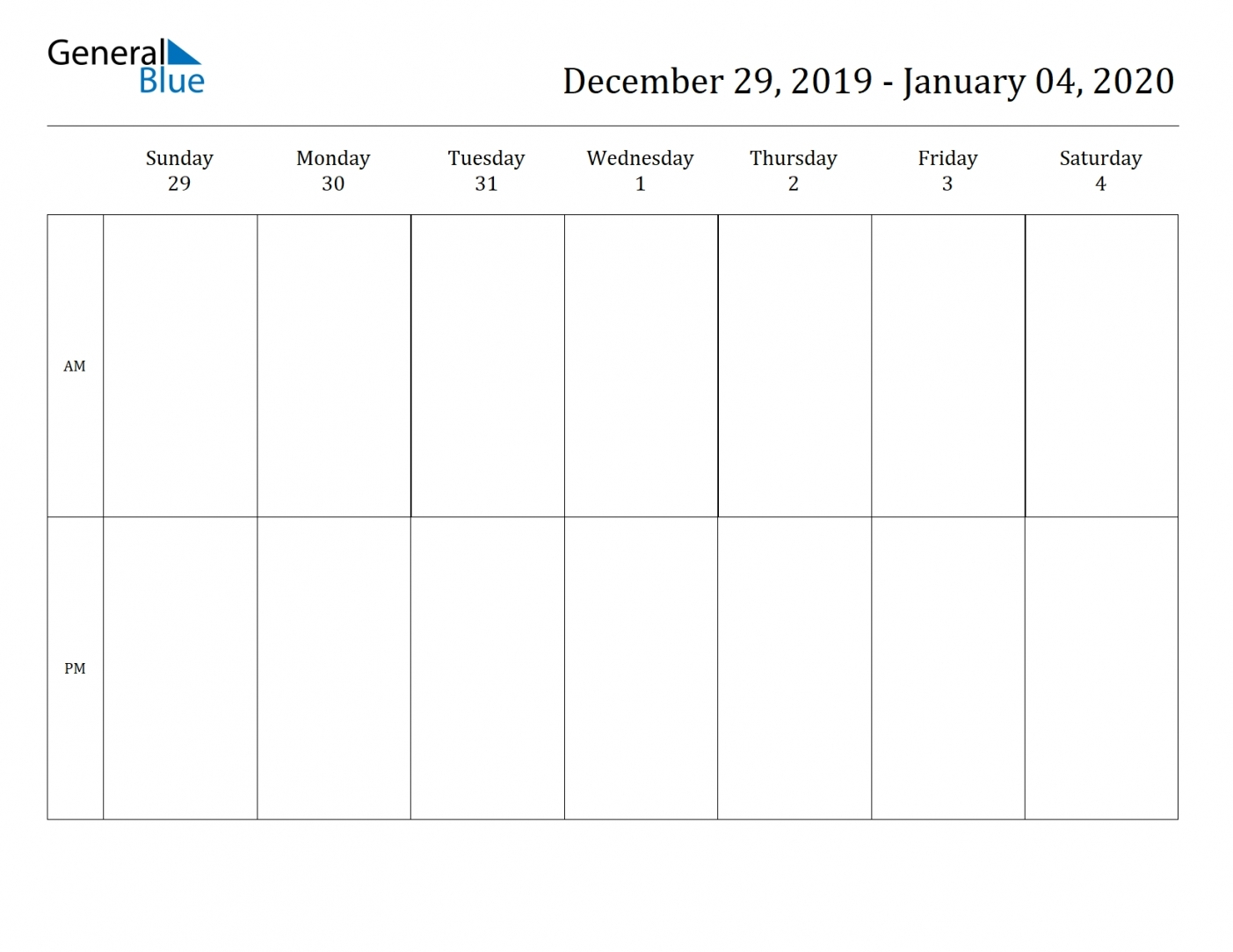 2 Week Blank Calendar 2020 Printable | Free Letter Templates