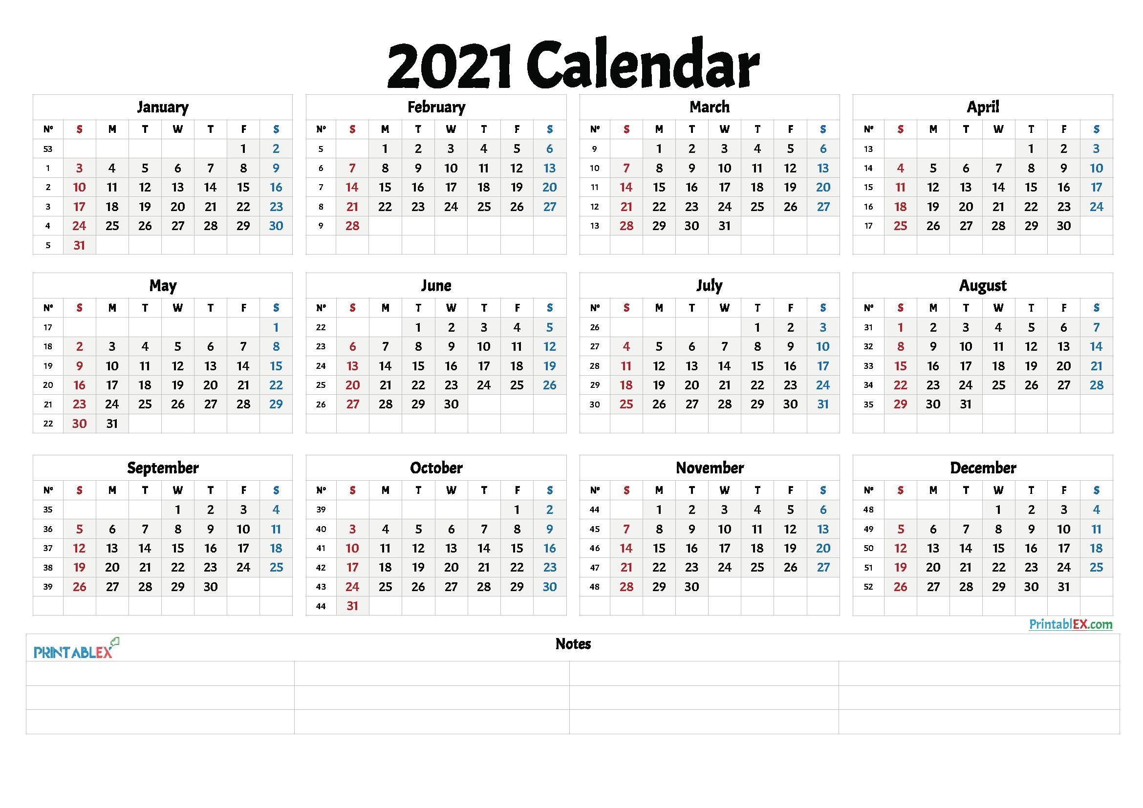 20+ Calendar 2021Week Number - Free Download Printable