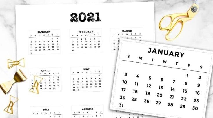 20 Free Printable 2021 Calendars - Lovely Planner