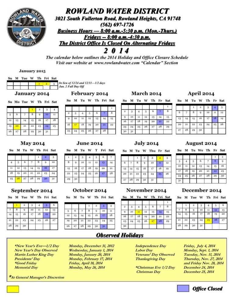 2014-9-80 Work Week-Holidays-Public | Rowland Water District