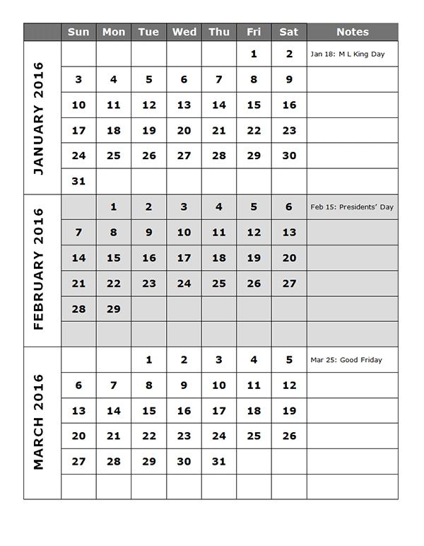 2016 Quarterly Calendar Template 14P - Free Printable