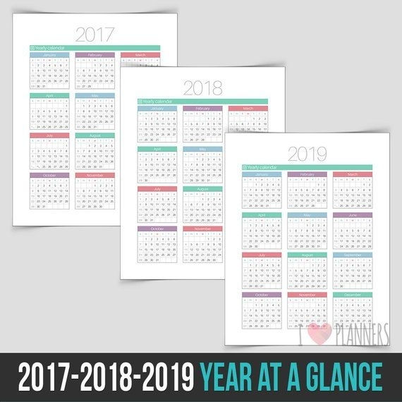 2017 / 2018 / 2019 Year At A Glance - Instant Download