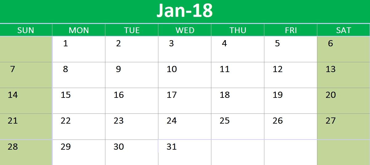 2018 Calendar Google Sheets Printable Templates | Template