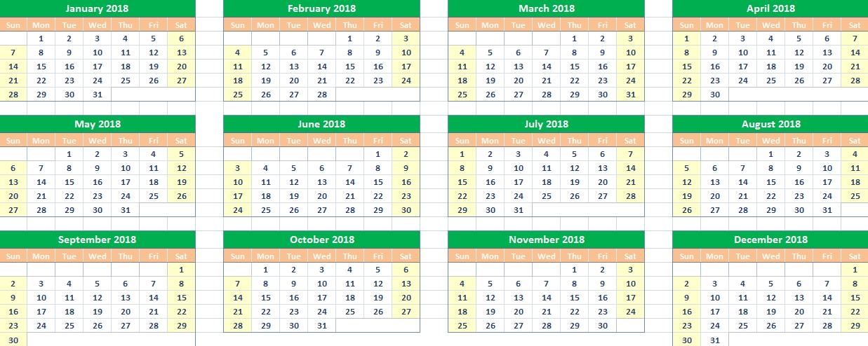 2018 Calendar Google Sheets Printable Templates