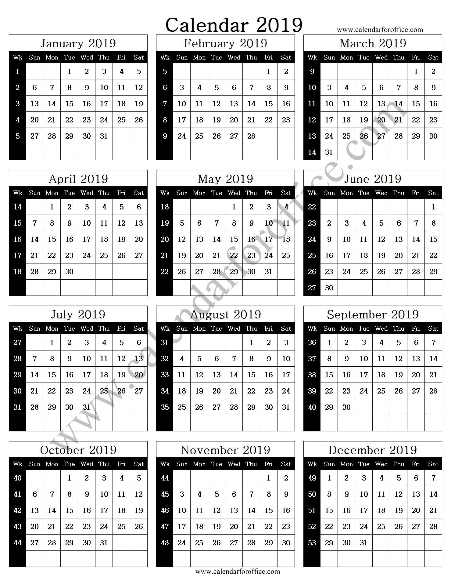 2019 Year Calendar With Week Numbers   Calendar With Week
