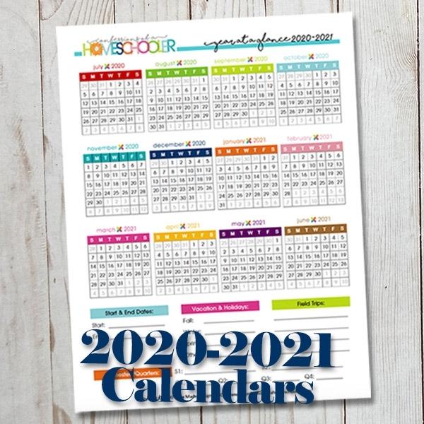 2020-2021 Year At A Glance Printable Calendars