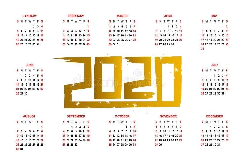 2020 Calendar Grid With Weeks Illustration Stock