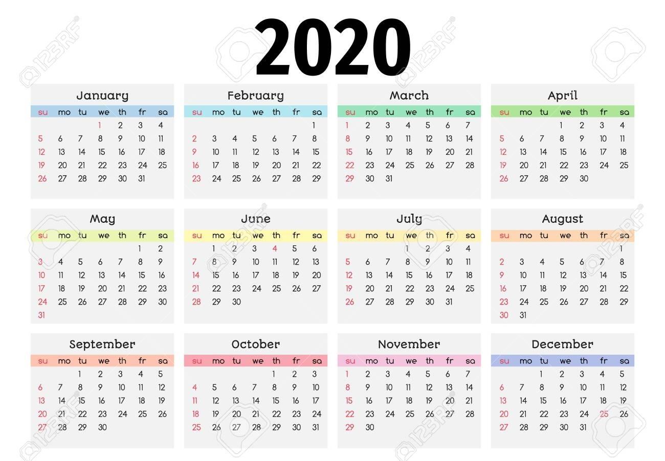 2020 Calendar Monday Through Sunday   Printable Calendar Free