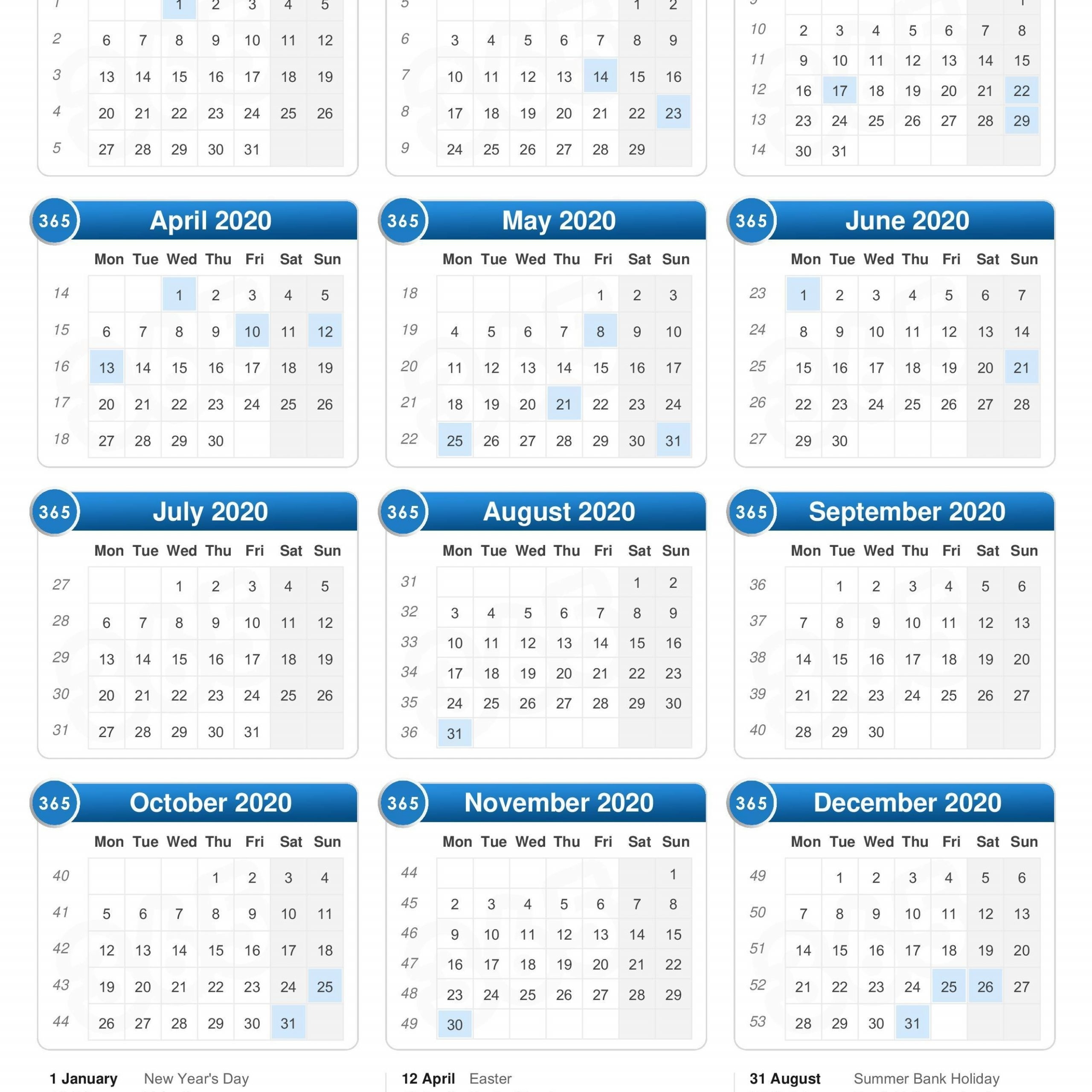 2020 Calendar With Week Numbers And Bank Holidays | Free
