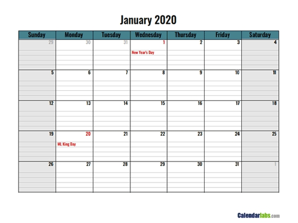 2020 Google Docs Daily Planner - Free Printable Templates