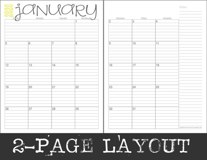 2020 Monthly 2-Page Lined Calendars Full Year Printable | Etsy