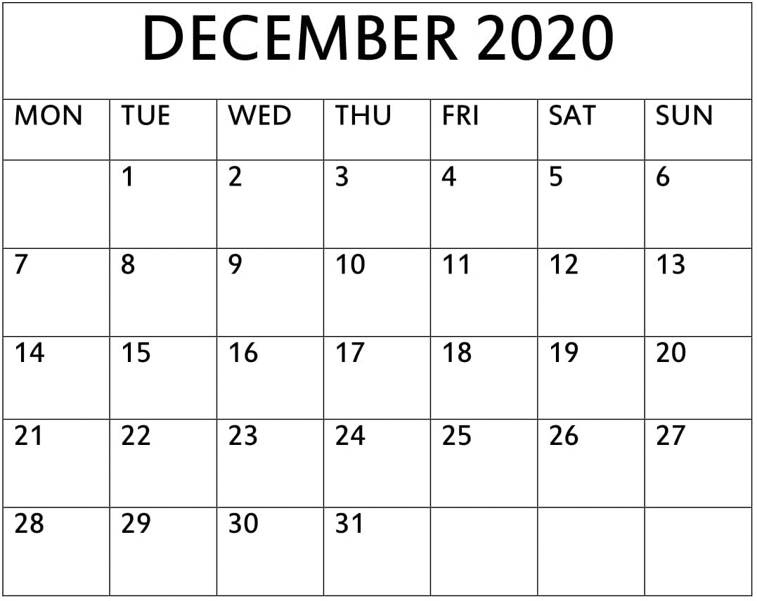 2020 Monthly Printable Calendar (January To December