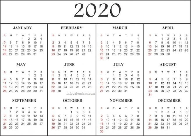 2020 Quarterly Calendar Plan First Thing In The Morning