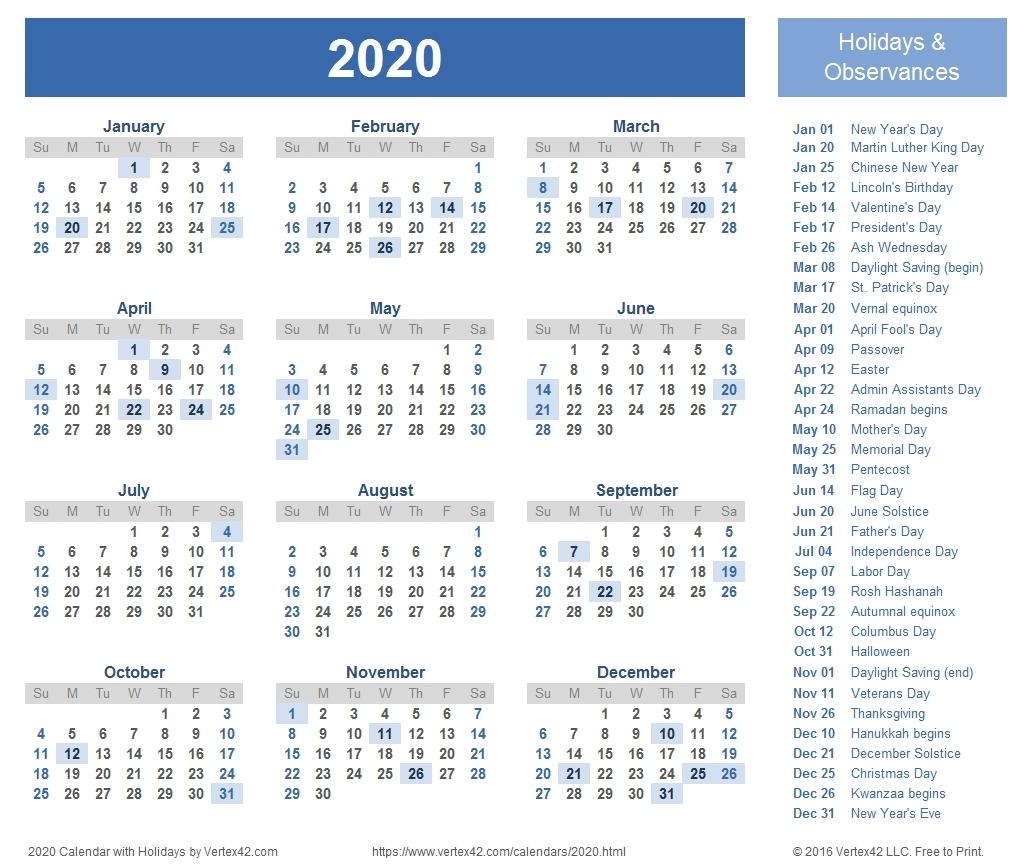 2020 Week Wise Calendar - Calendar Inspiration Design