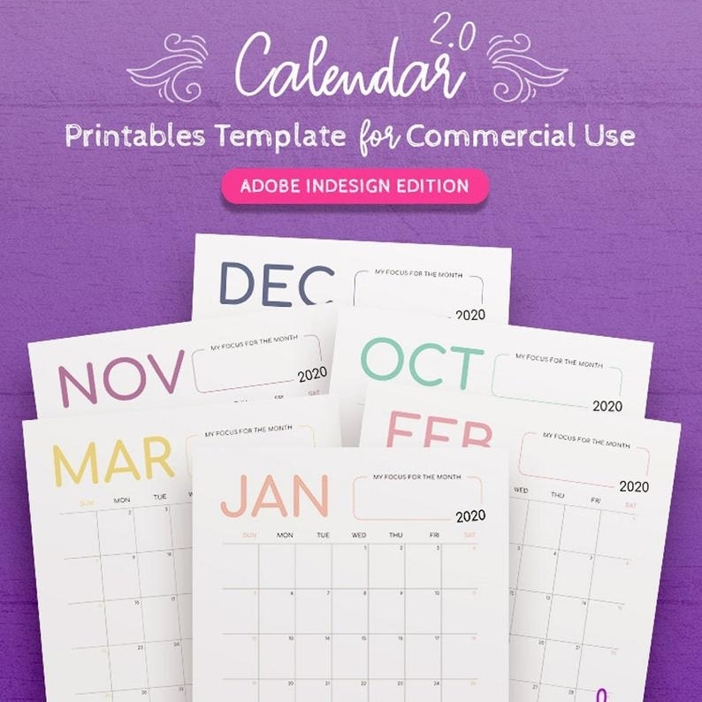 2021-2023 Calendar Indesign Template For Commercial Use   Etsy