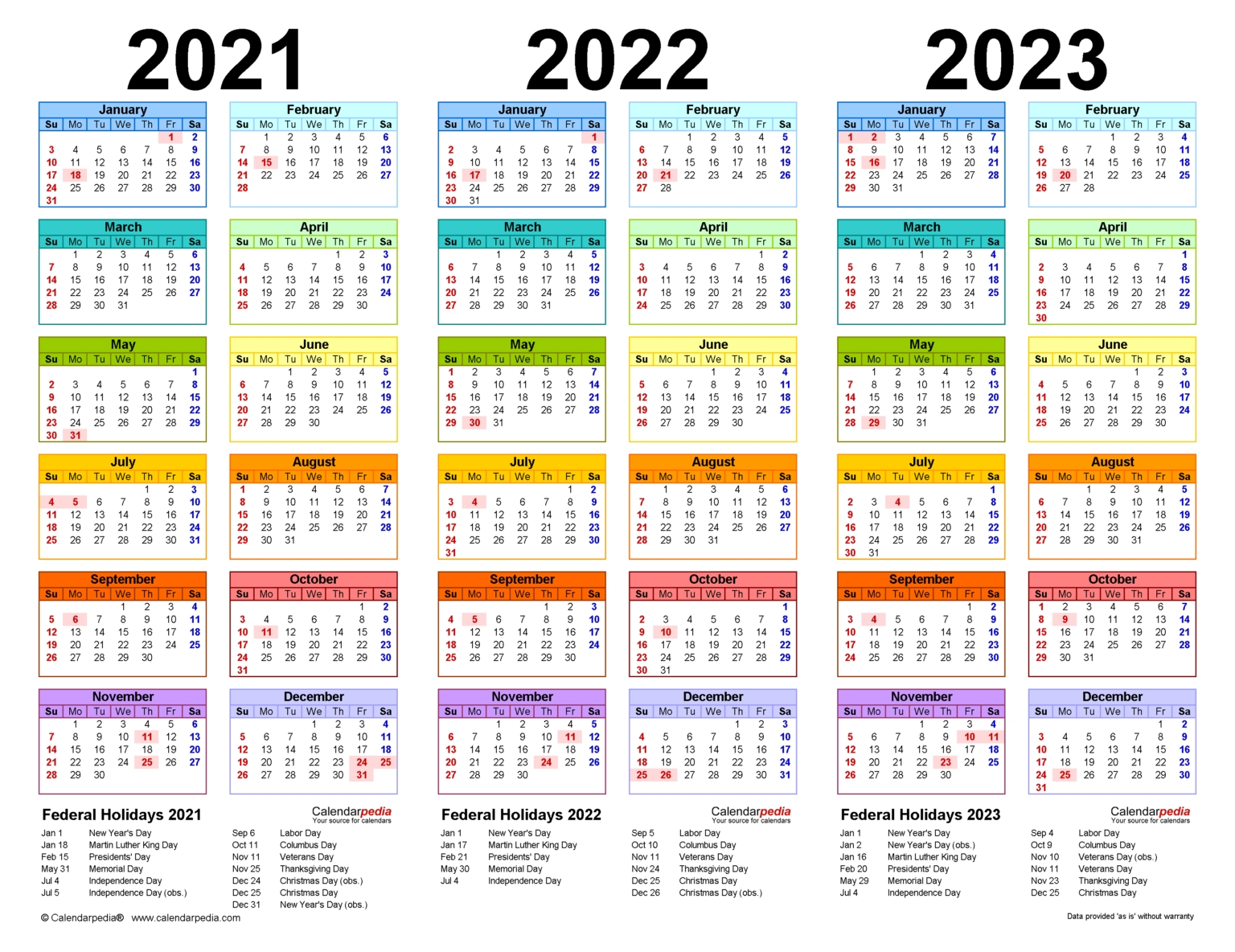 2021-2023 Three Year Calendar - Free Printable Pdf