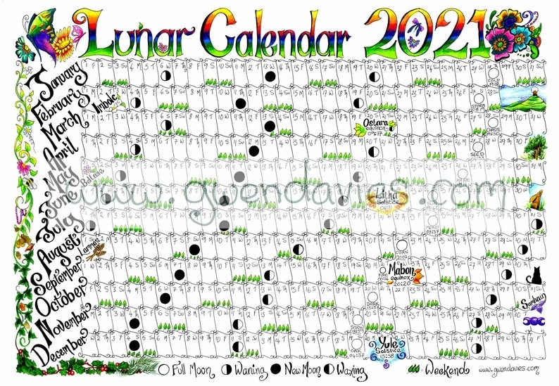 2021 A4 Lunar Moon Calendar Plus Wheel Of The Year Pagan