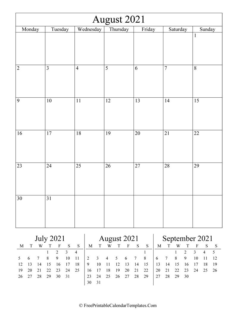 2021 August Calendar Printable (Vertical)
