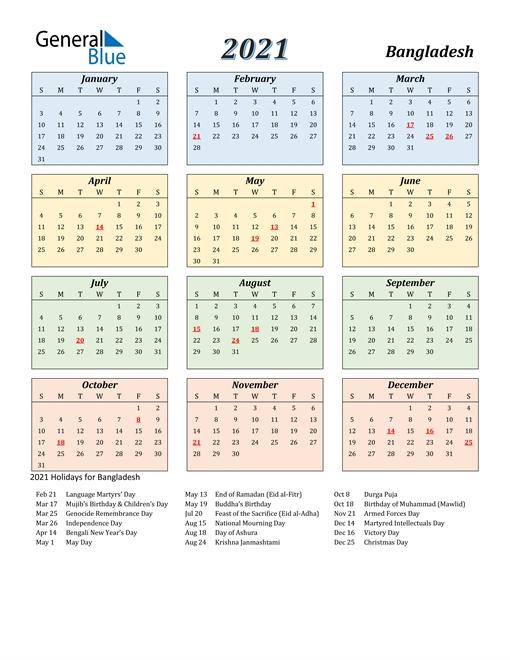 2021 Bangladesh Calendar With Holidays