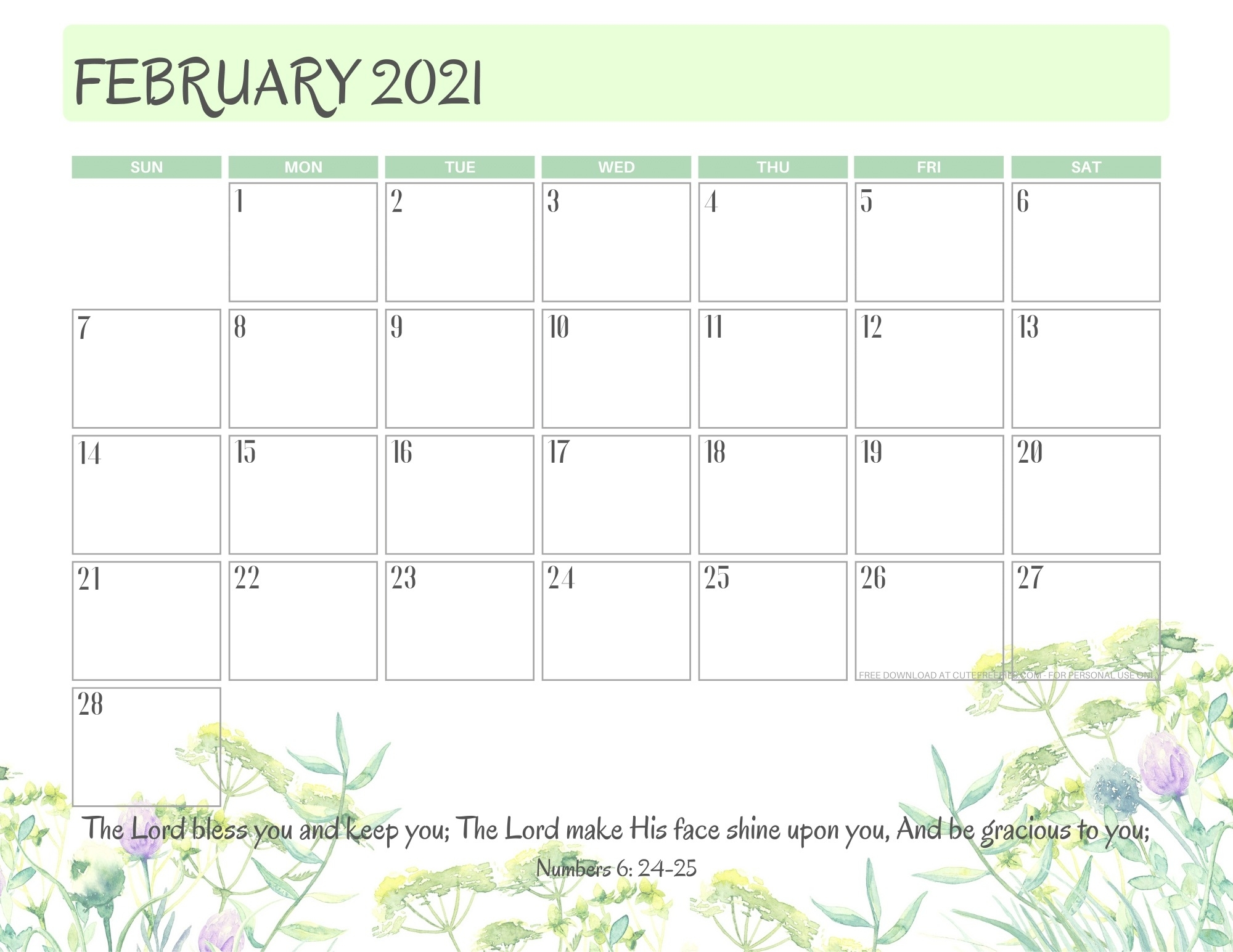2021 Bible Verse Calendar Free Printable! - Cute Freebies