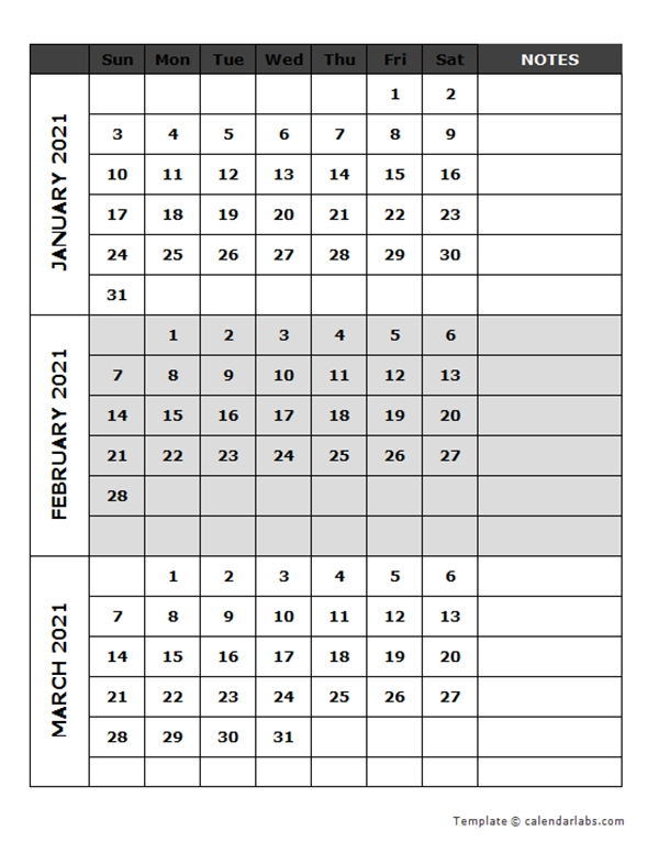 2021 Blank Quarterly Calendar - Free Printable Templates