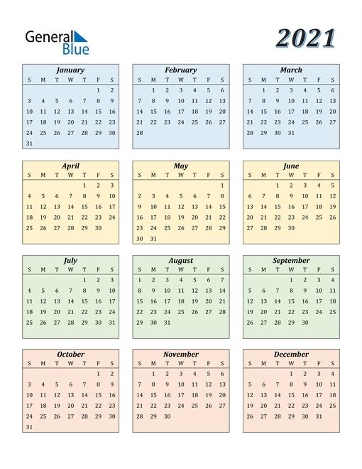 2021 Calendar Colorful | Calvert Giving