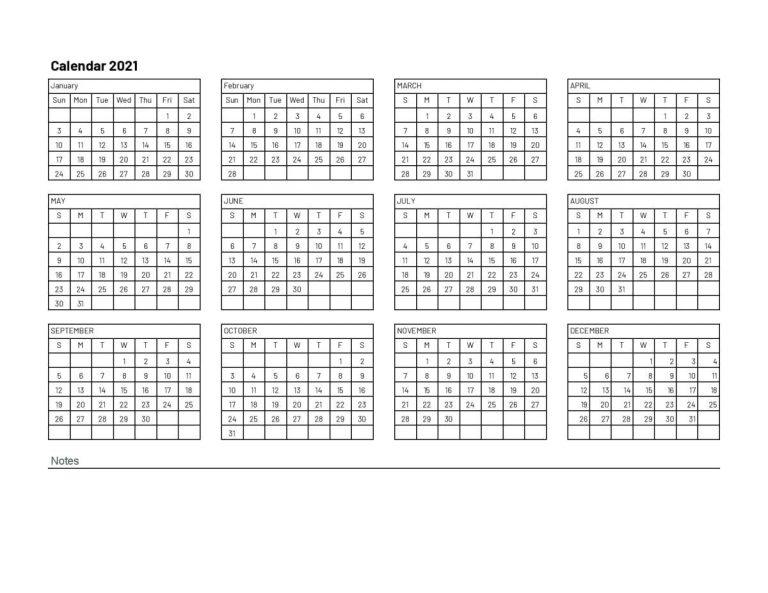 2021 Calendar Excel | Google Sheet Blank Template