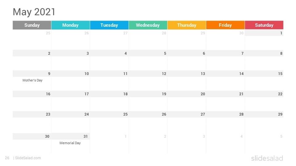 2021 Calendar Google Slides Template Designs - Slidesalad