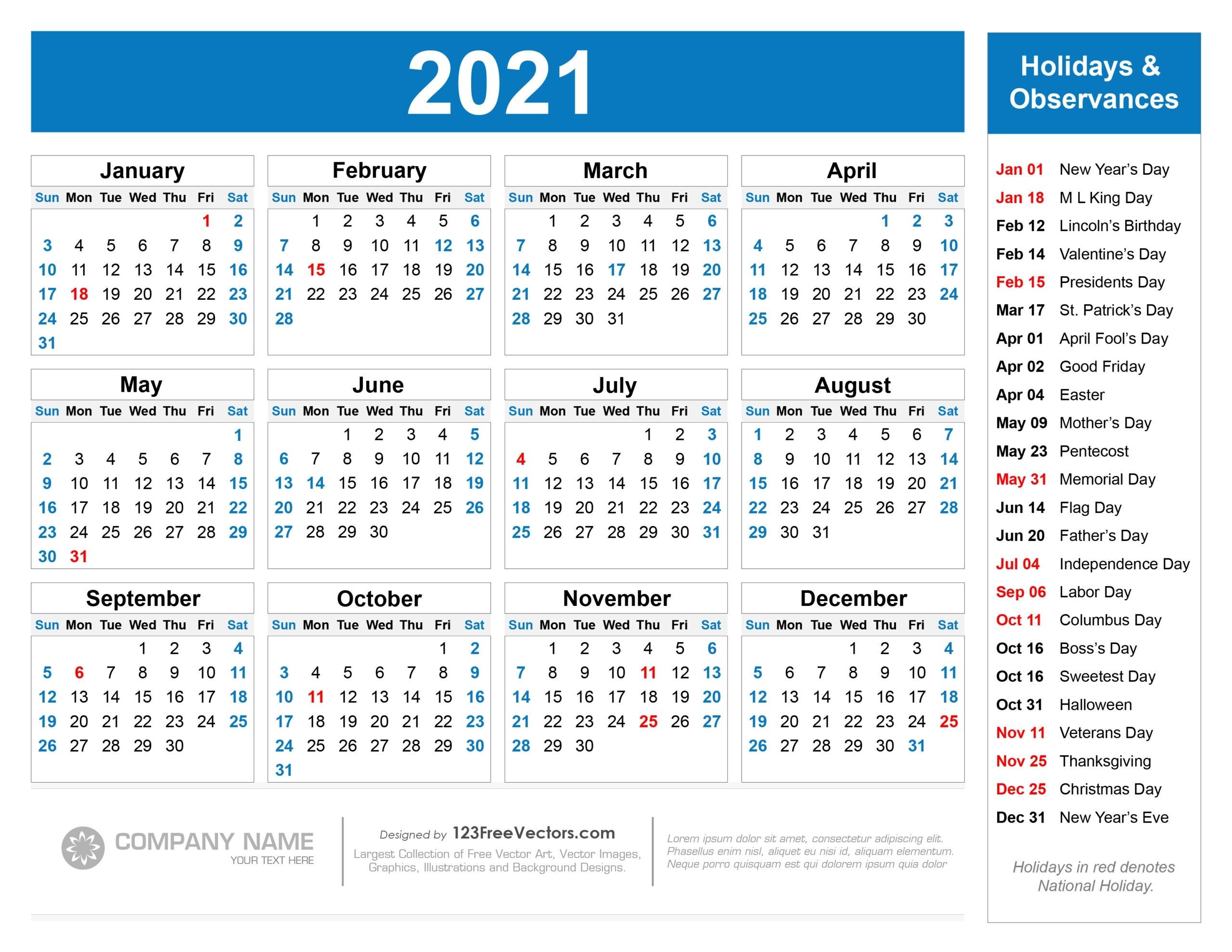 2021 Calendar Holidays And Observances | Printable