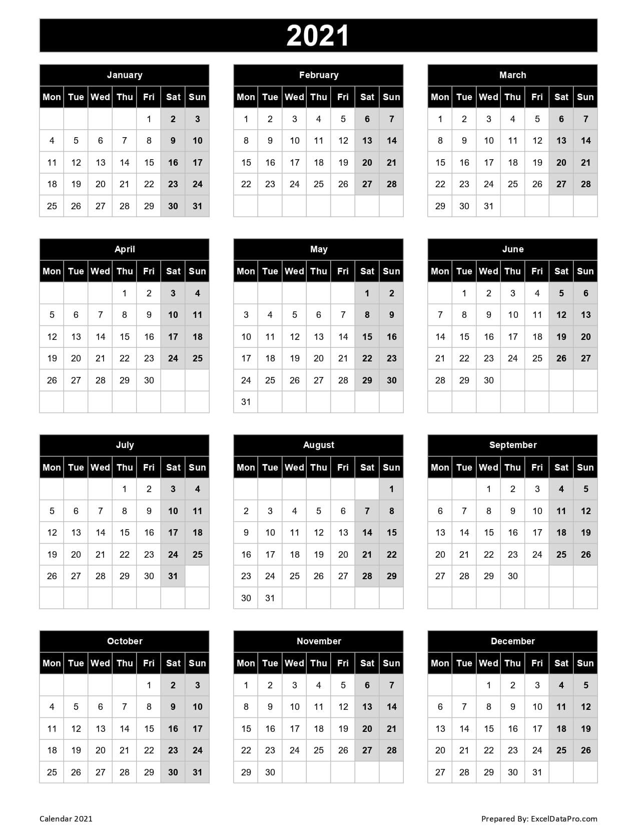 2021 Calendar In Excelweek   Calendar Printables Free