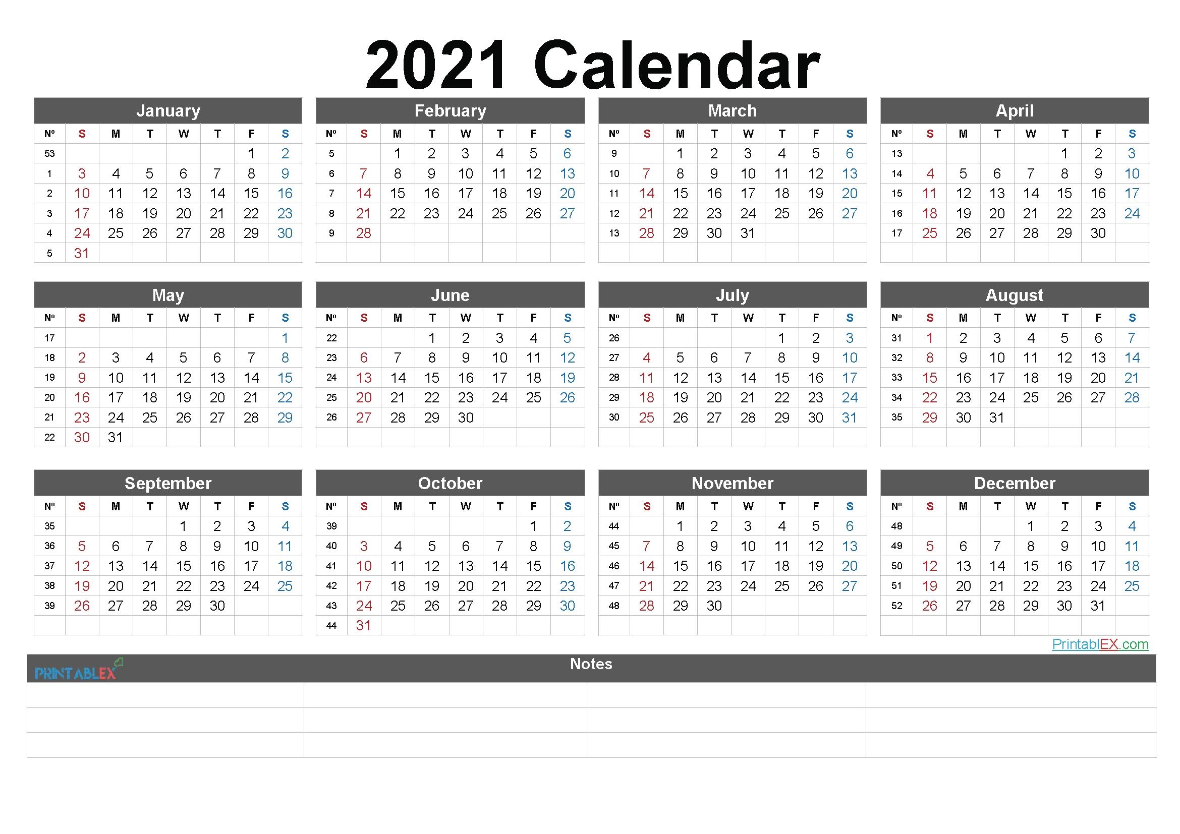 2021 Calendar In Excelweek | Calendar Printables Free