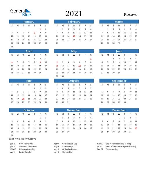 2021 Calendar - Kosovo With Holidays
