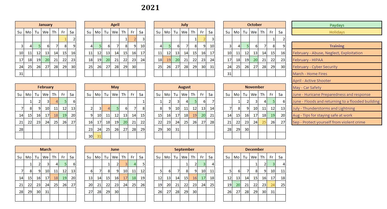2021 Calendar - Seasons Primary Home Care