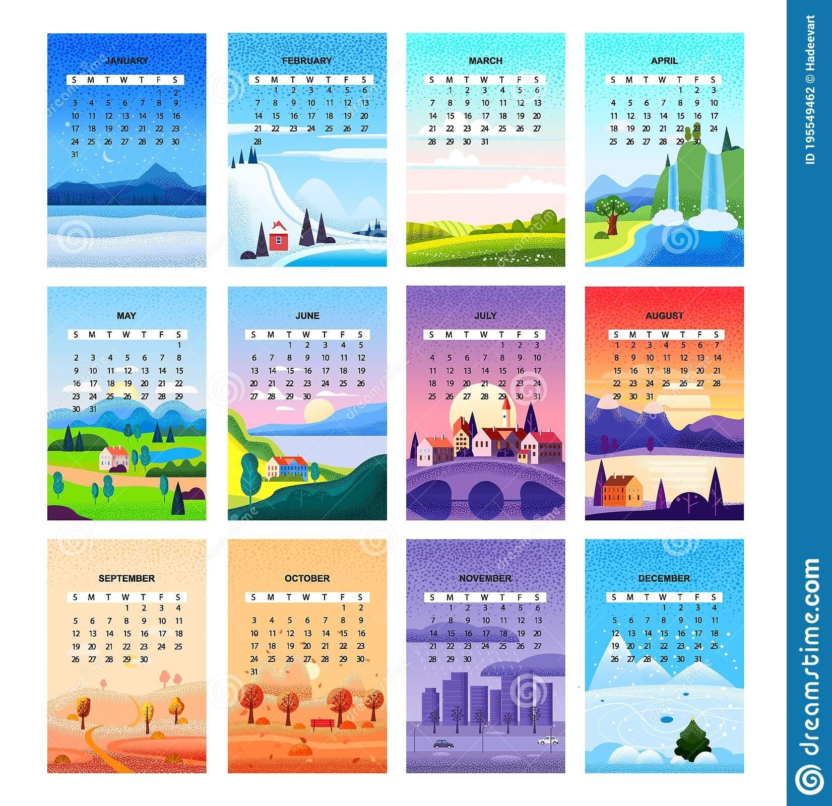 2021 Calendar Set Minimalistic Landscape Natural