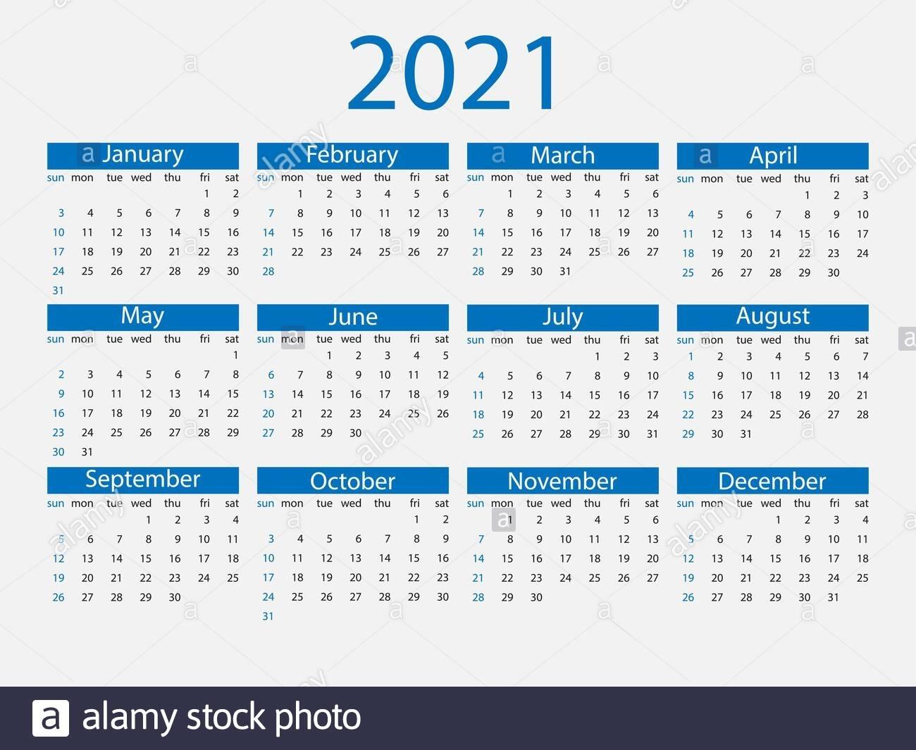 2021 Calendar, Week Starts Sunday. Vector Illustration