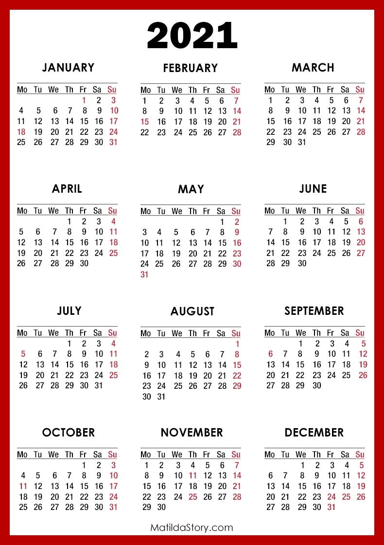 2021 Calendar With Holidays, Printable Free, Red - Monday