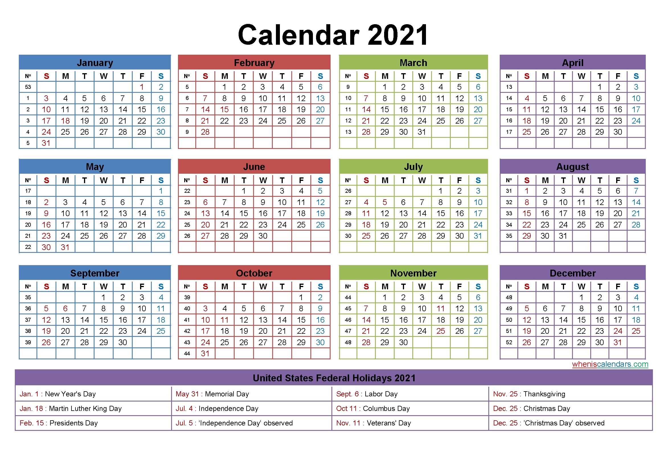 2021 Calendar With Holidays Printable Word, Pdf