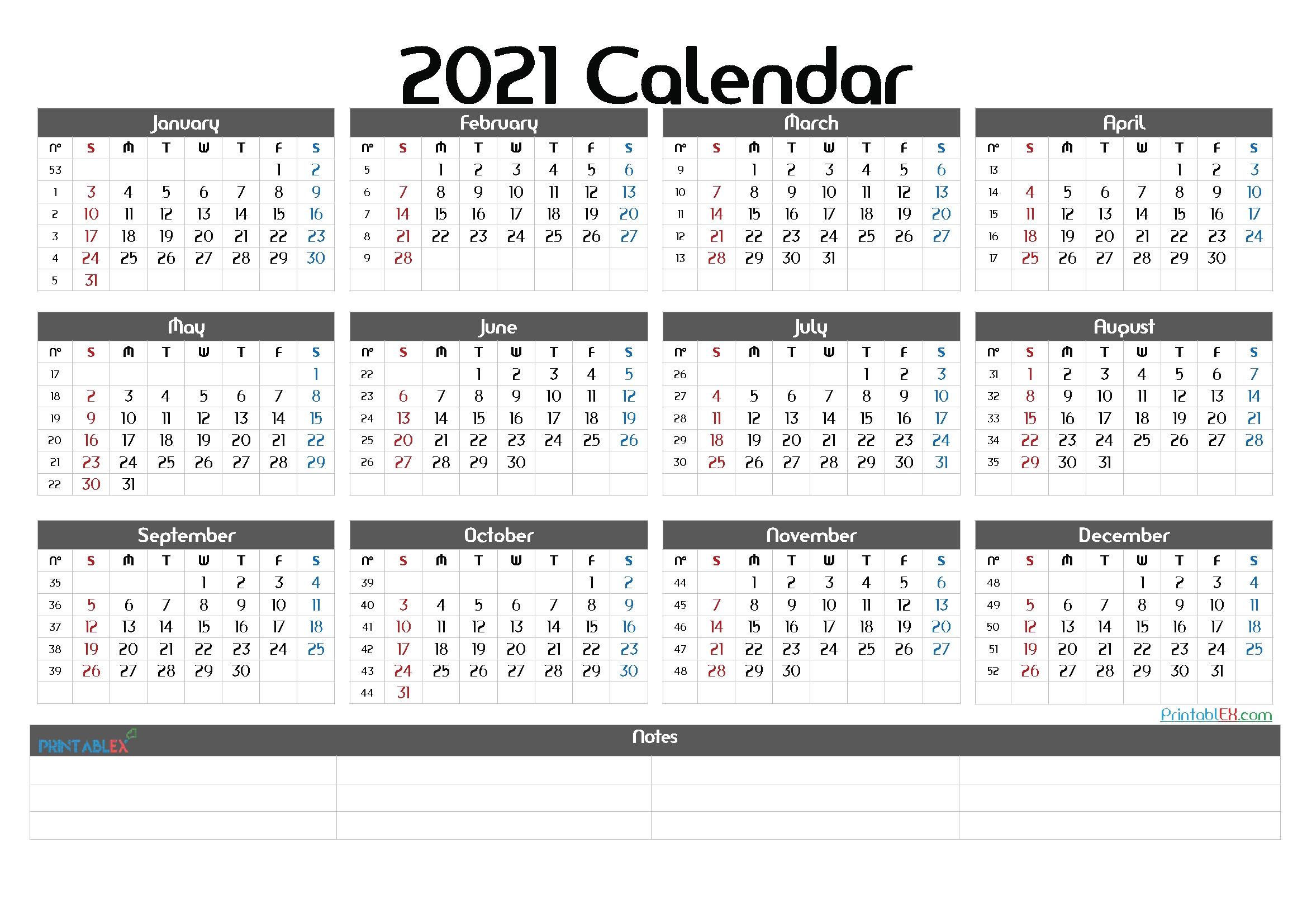 2021 Calendar With Week Number Printable Free : Free Free