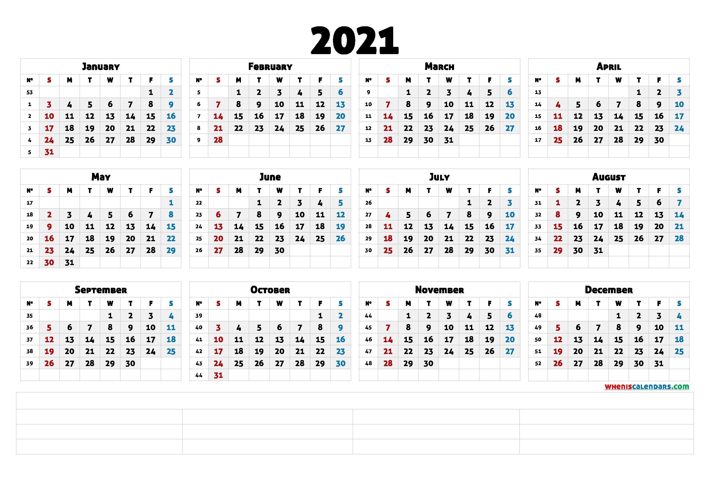 2021 Calendar With Week Number Printable Free : January