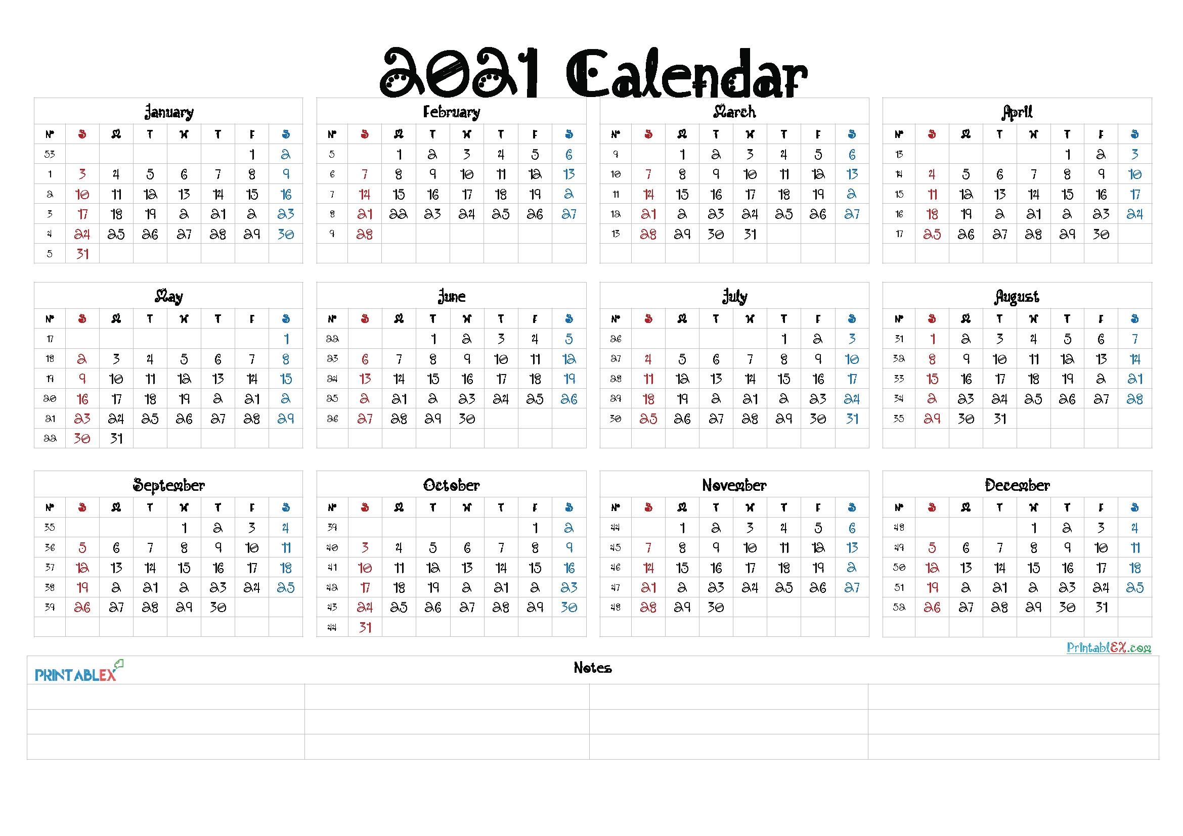 2021 Calendar With Week Number Printable Free / Pin On