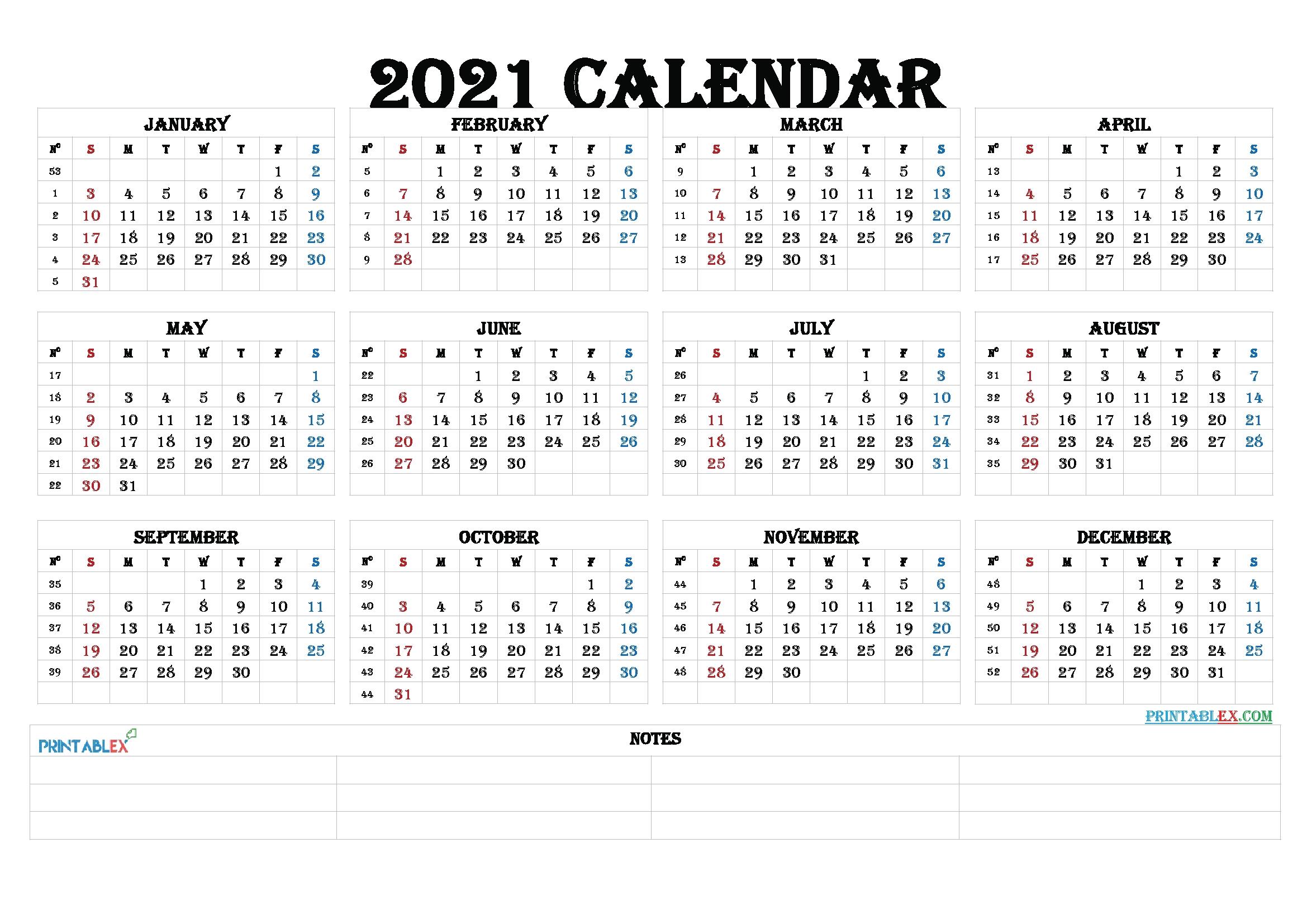 2021 Calendar With Week Number Printable Free : Printable