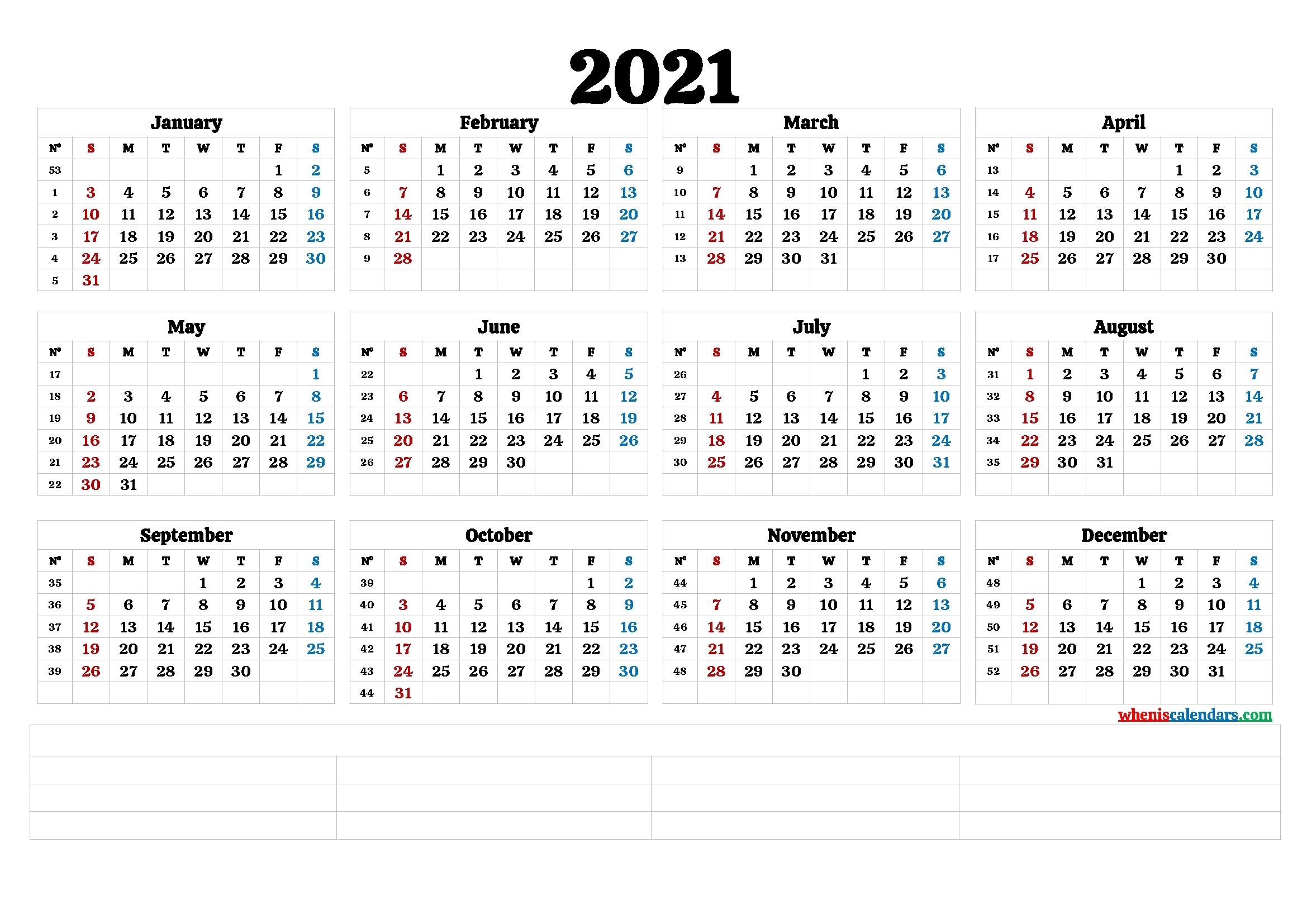 2021 Calendar With Week Number Printable Free / Week